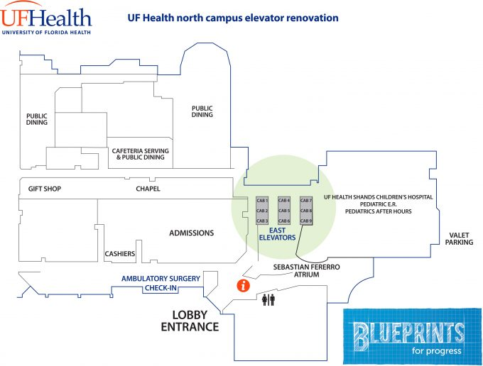 UFH_east elevator renovation_updated map 6-14-16
